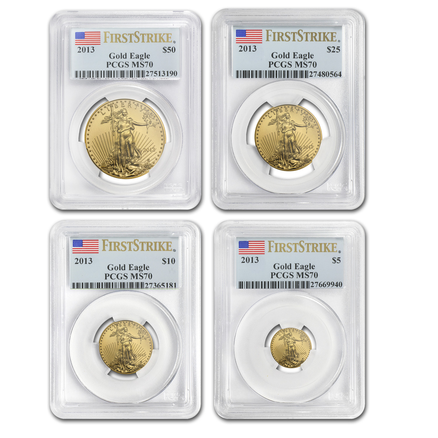 2013 4-Coin Gold American Eagle Set MS-70 PCGS (FS)