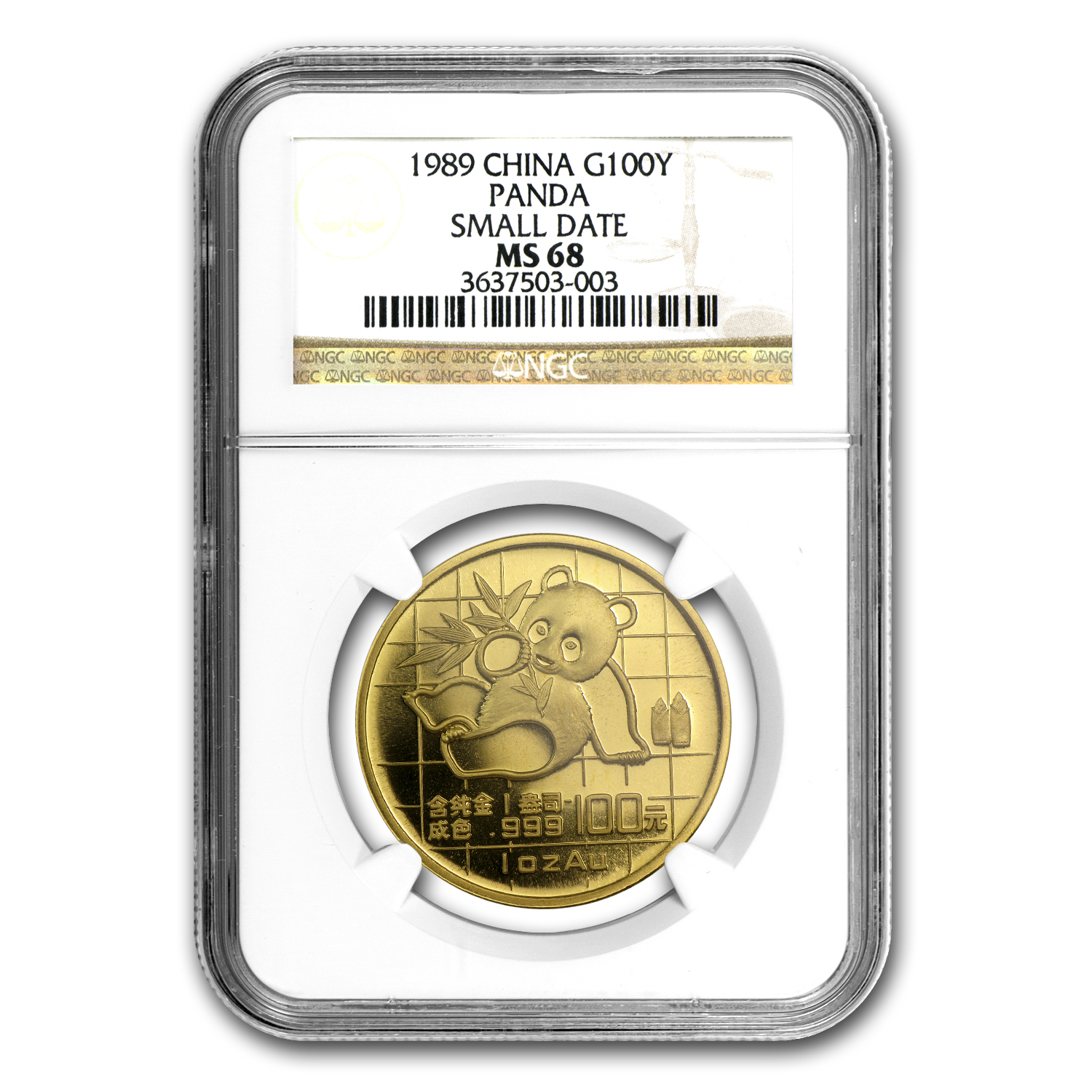 1989 1 oz Gold Chinese Panda Small Date MS-68 NGC