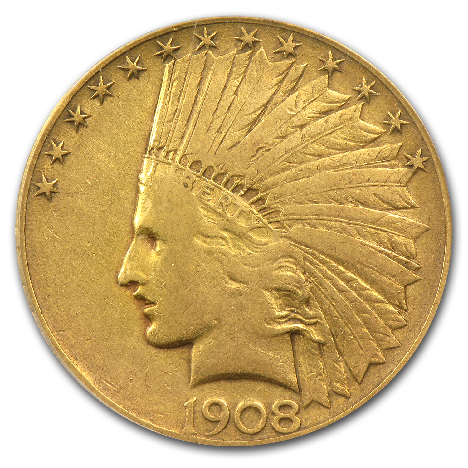1908 $10 Indian Gold Eagle - With Motto - VF-20 PCGS