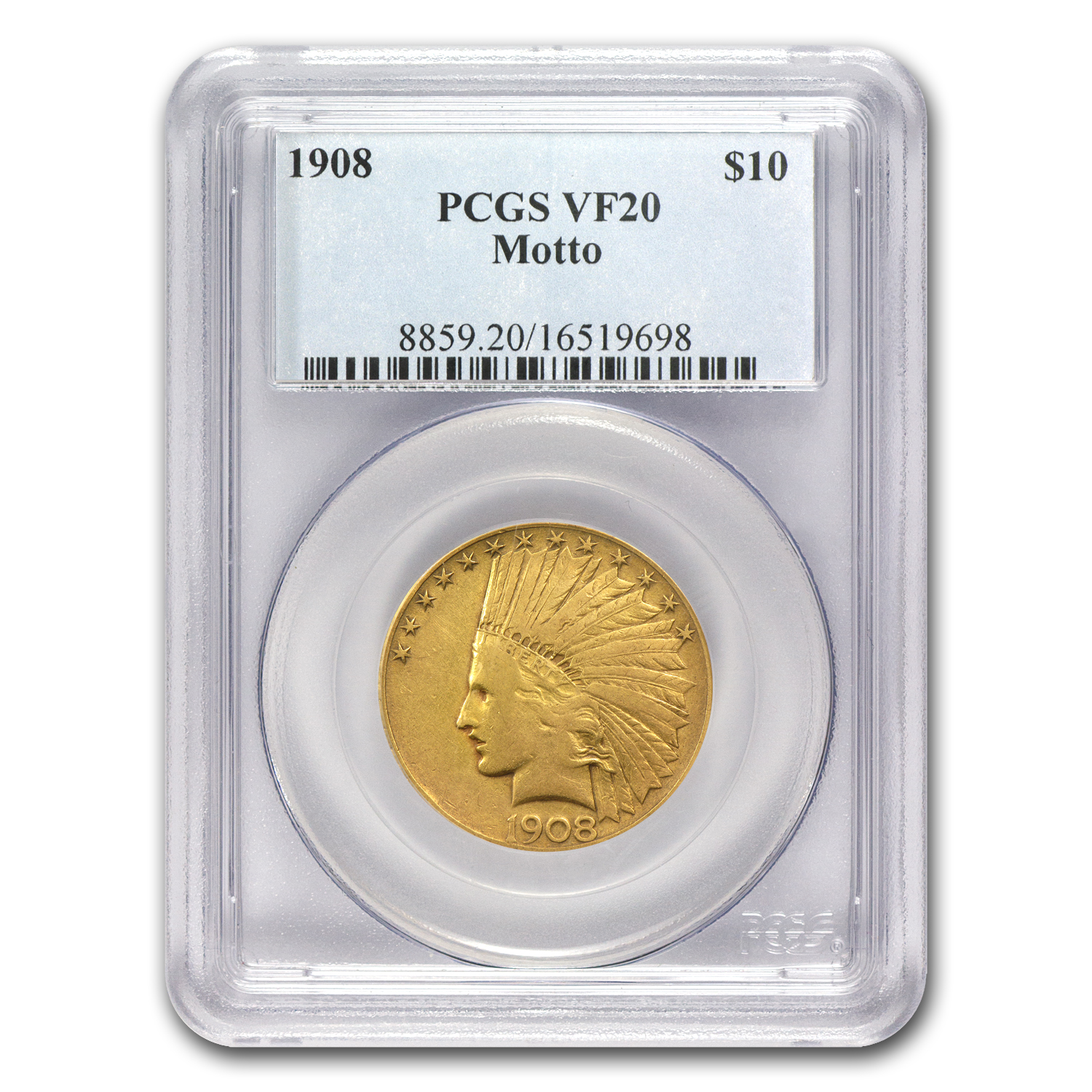 1908 $10 Indian Gold Eagle w/Motto VF-20 PCGS