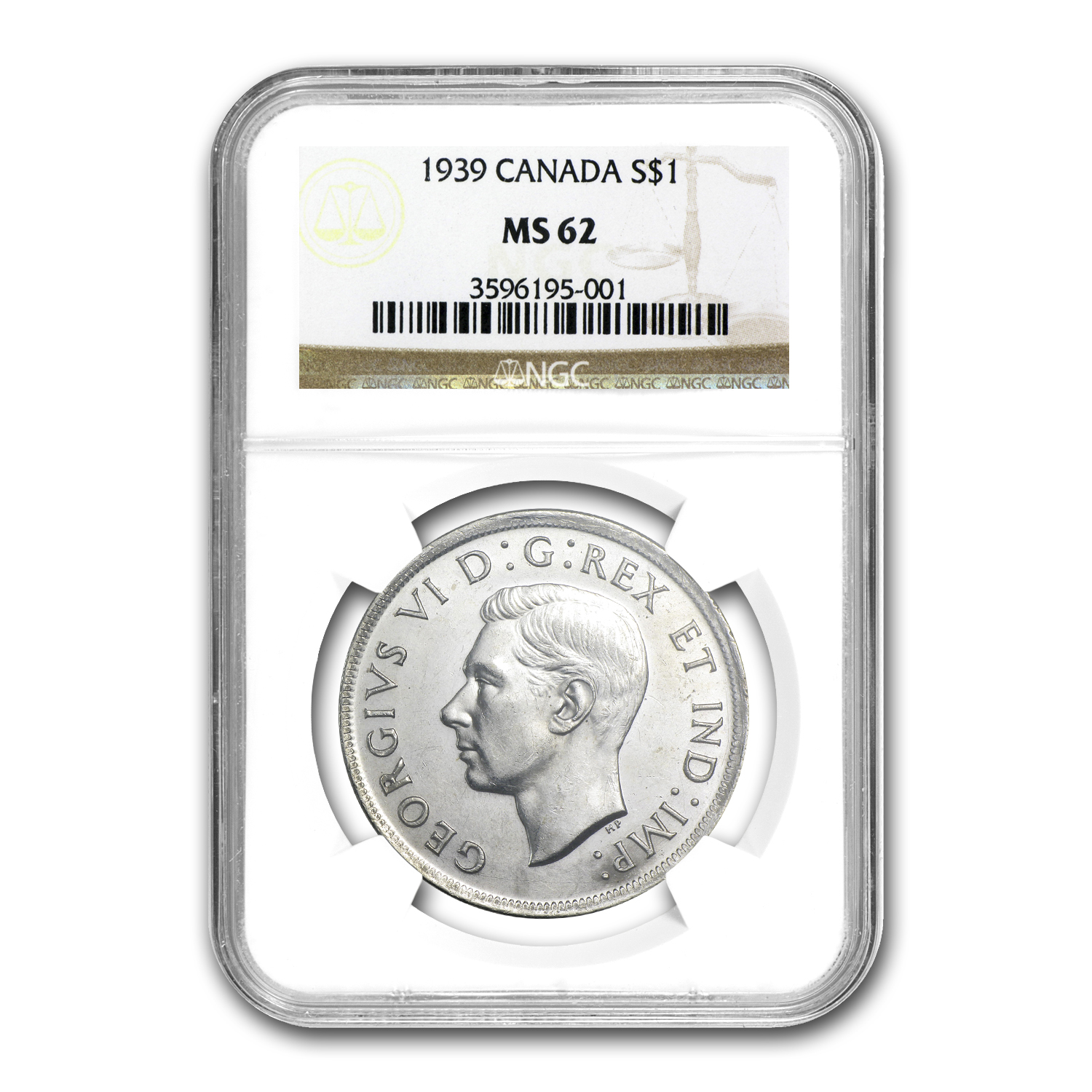 1939 Canada Silver Dollar King George VI MS-62 NGC