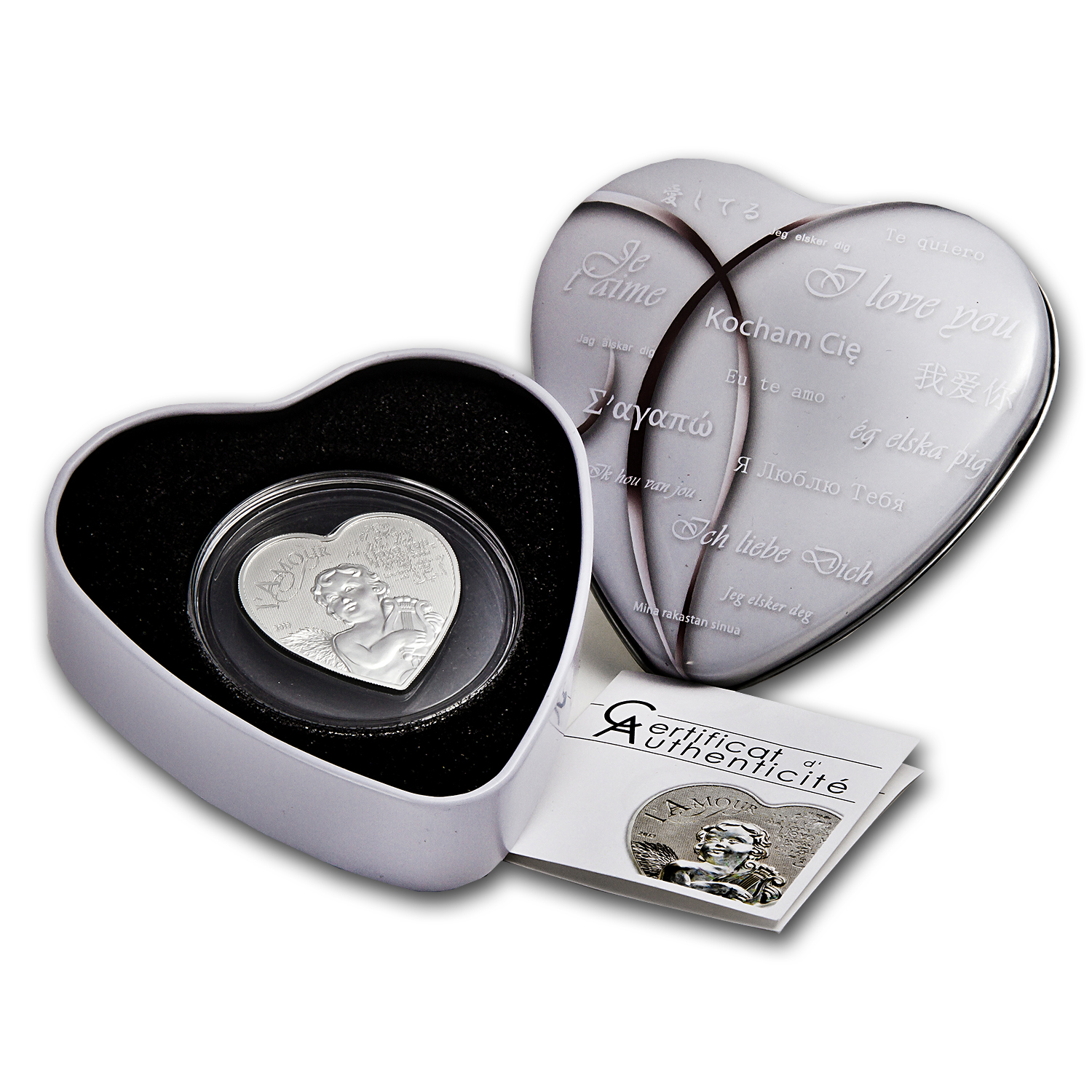 2013 Cameroon Silver 1000FR CFA Francs Heart of Love (Hologram)