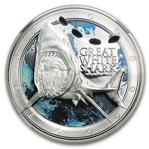 2012 1 oz Silver $2 Niue Great White Shark PF-70 NGC