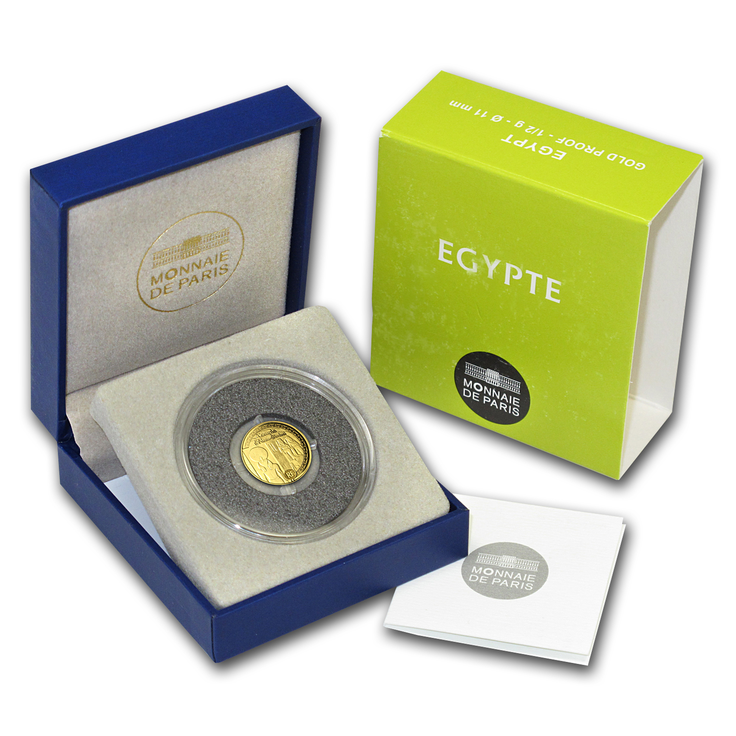 2012 €5 1/2 gram Gold Proof Egyptian Heritage - Abu Simbel