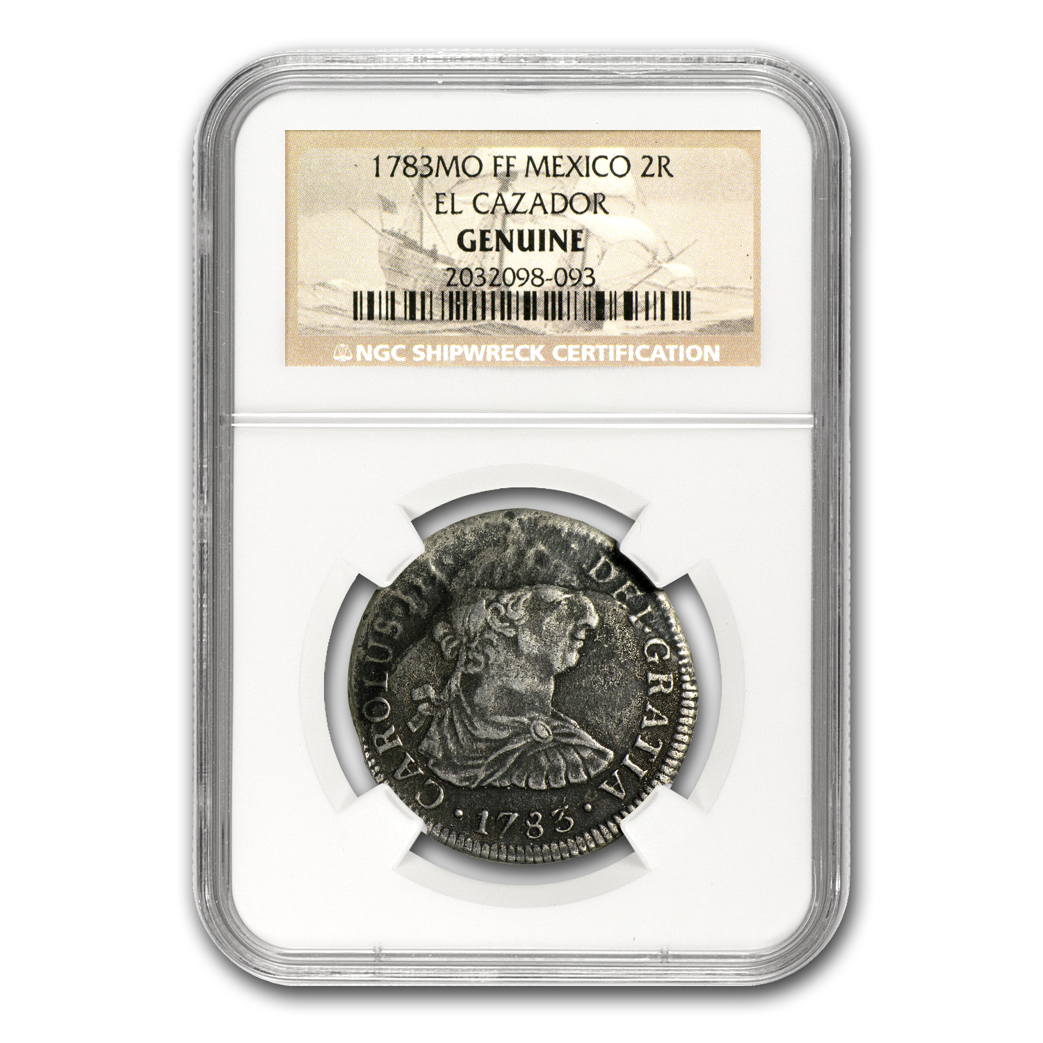 El Cazador Shipwreck 2 Reales Silver Collection Genuine NGC