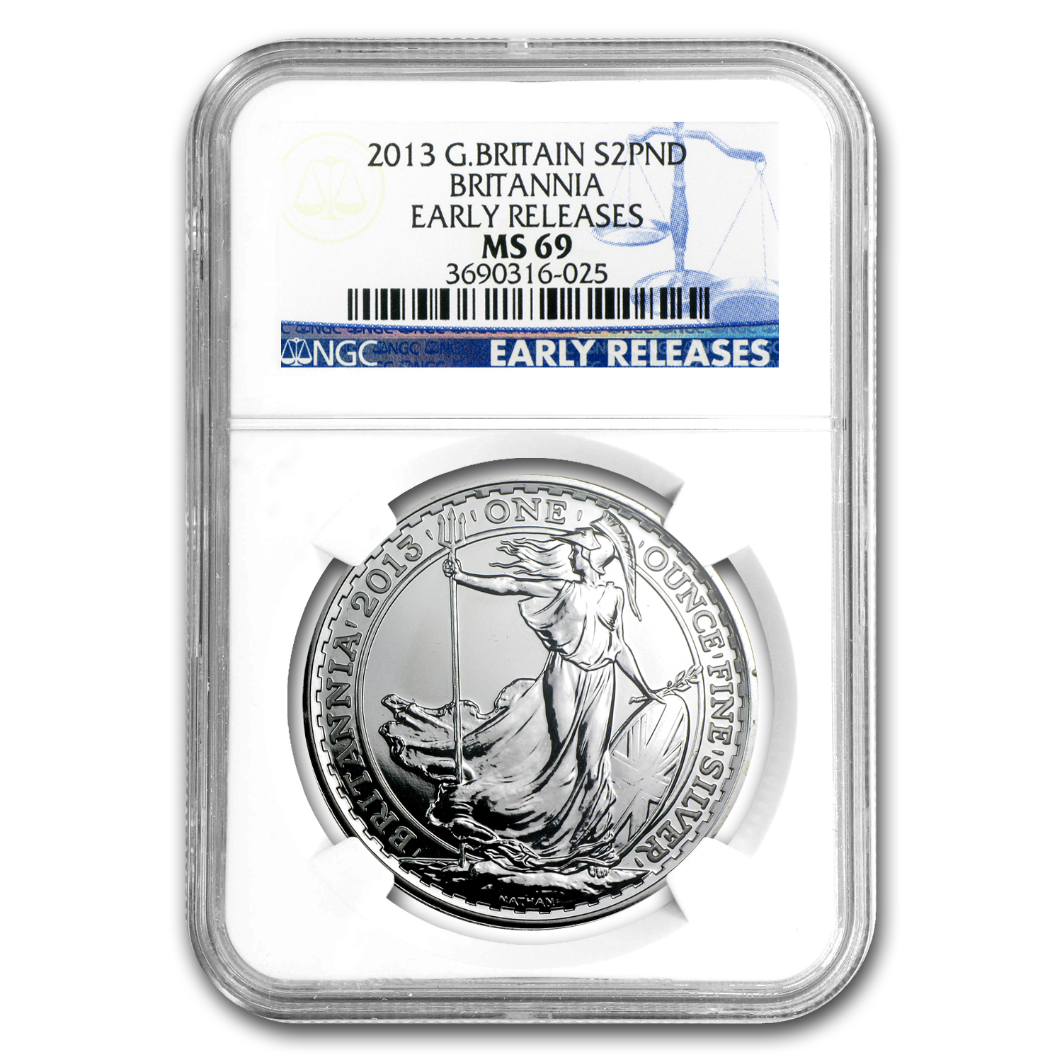 2013 1 oz Silver Britannia MS-69 NGC (Early Releases)