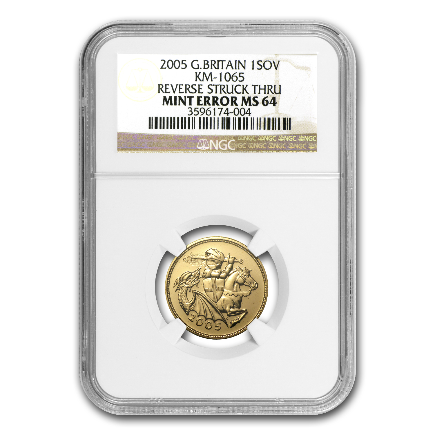 2005 Great Britain Gold Sovereign MS-64 NGC (Strike-thru)