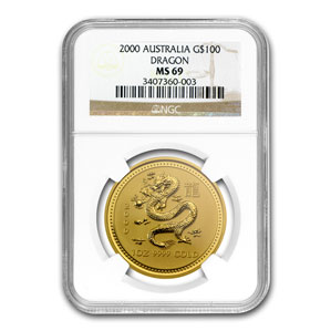 2000 1 oz Gold Lunar Year of the Dragon MS-69 NGC (Series I)