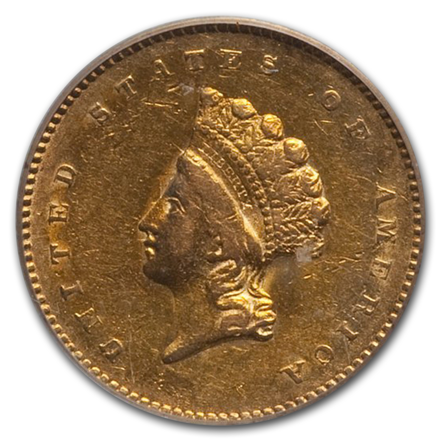 1854 $1 Indian Head Gold Type-2 AU-53 PCGS