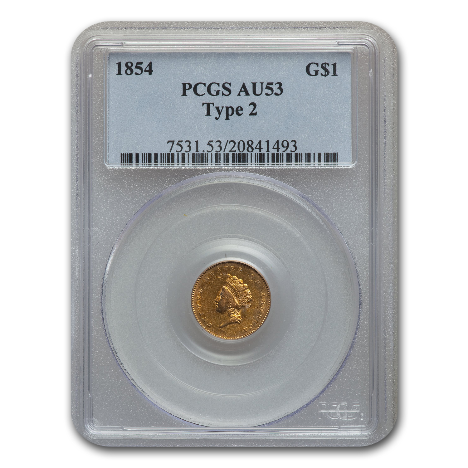 1854 (Type-2) $1 Indian Head Gold - AU-53 PCGS
