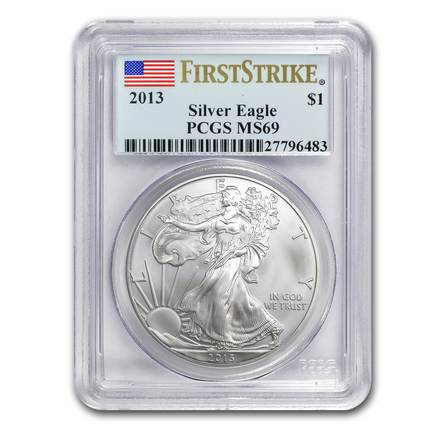 2013 Silver American Eagle MS-69 PCGS (First Strike)