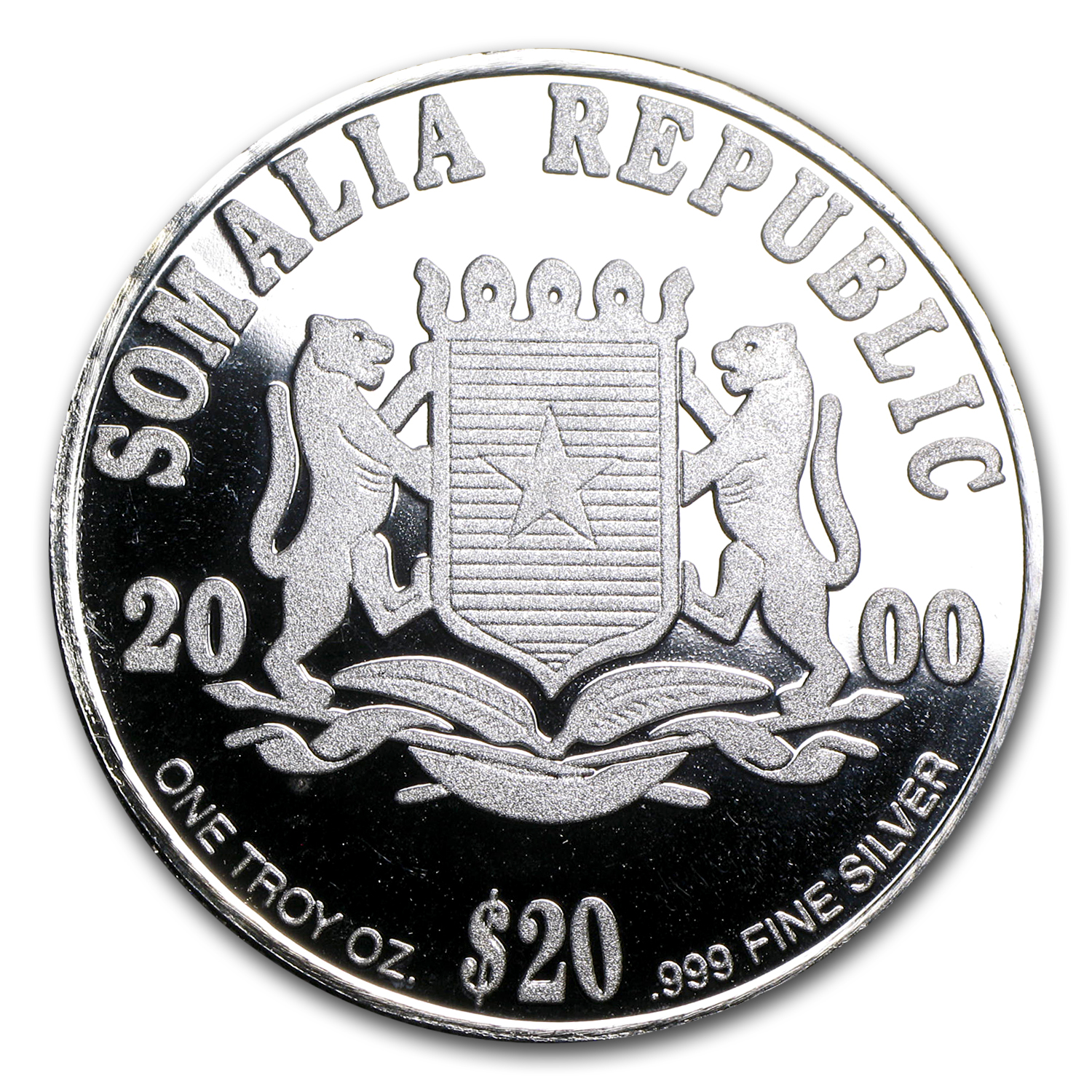 Somali Republic 2000 $20 Silver World Peace ASW 1.0