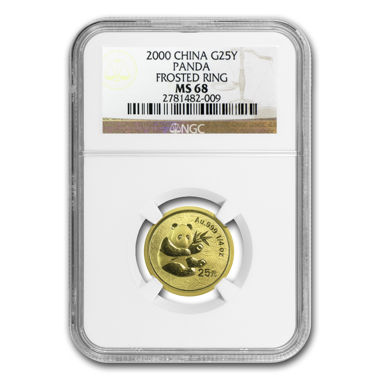 2000 China 1/4 oz Gold Panda Frosted MS-68 NGC