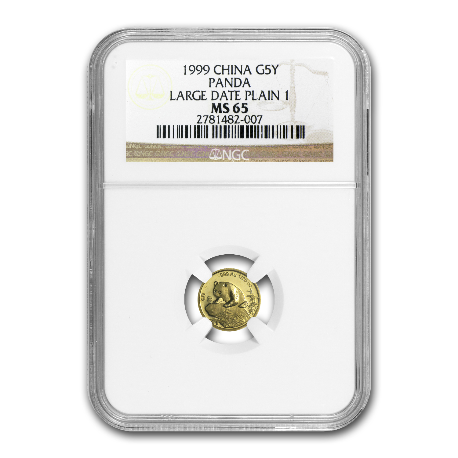 1999 China 1/20 oz Gold Panda Large Date MS-65 NGC