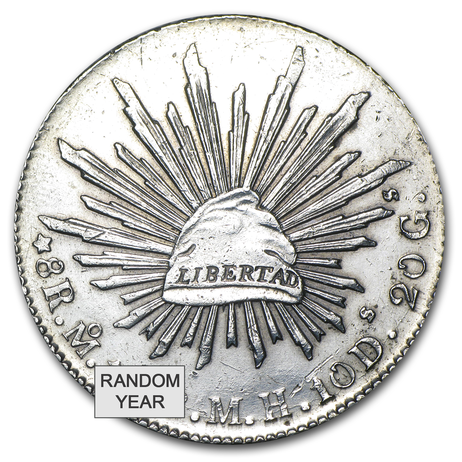 Mexico Silver 8 Reales Cap&Rays VG-VF (ASW .7859 oz)