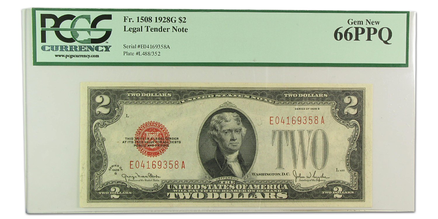 1928-G $2.00 U.S. Note Red Seal Gem New-66 PPQ PCGS