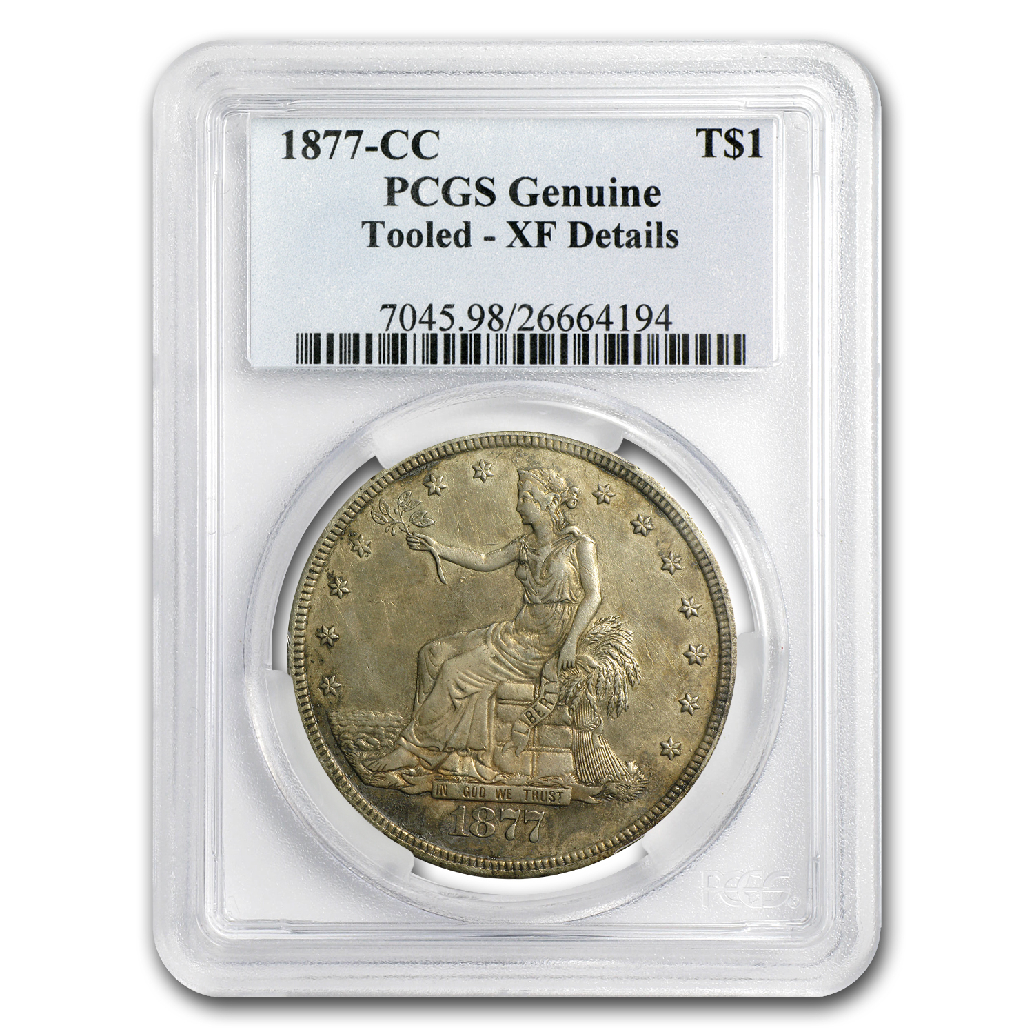 1877-CC Trade Dollar Extra Fine Details Tooled PCGS