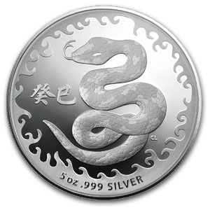 2013 Australia 5 oz Silver Year of the Snake Proof-Like
