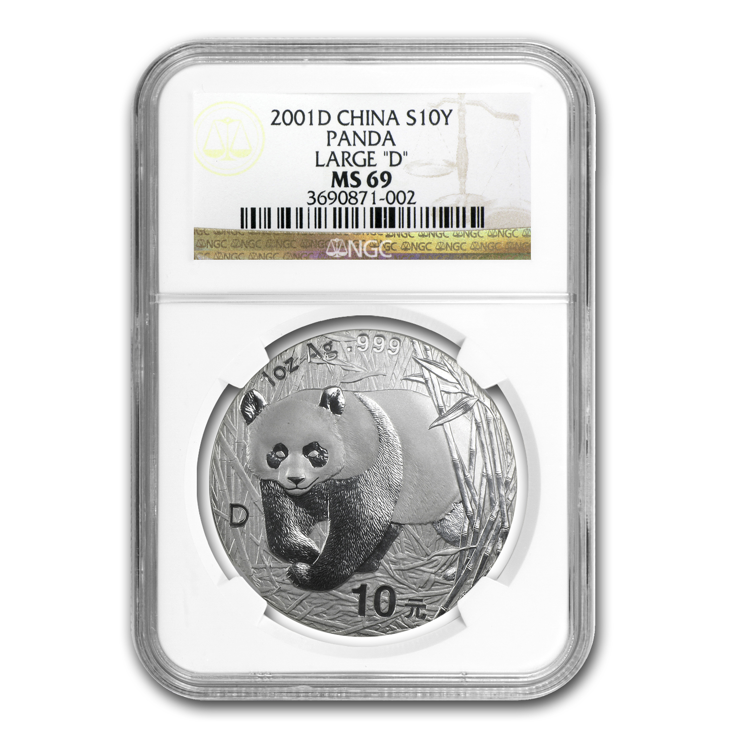 2001-D China 1 oz Silver Panda MS-69 NGC (Large D)