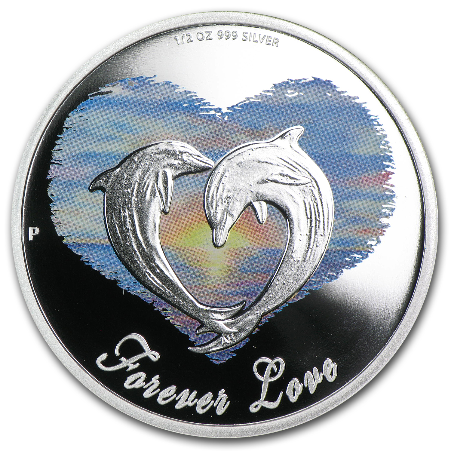 2013 Tuvalu 1/2 oz Silver Forever Love Dolphins Proof