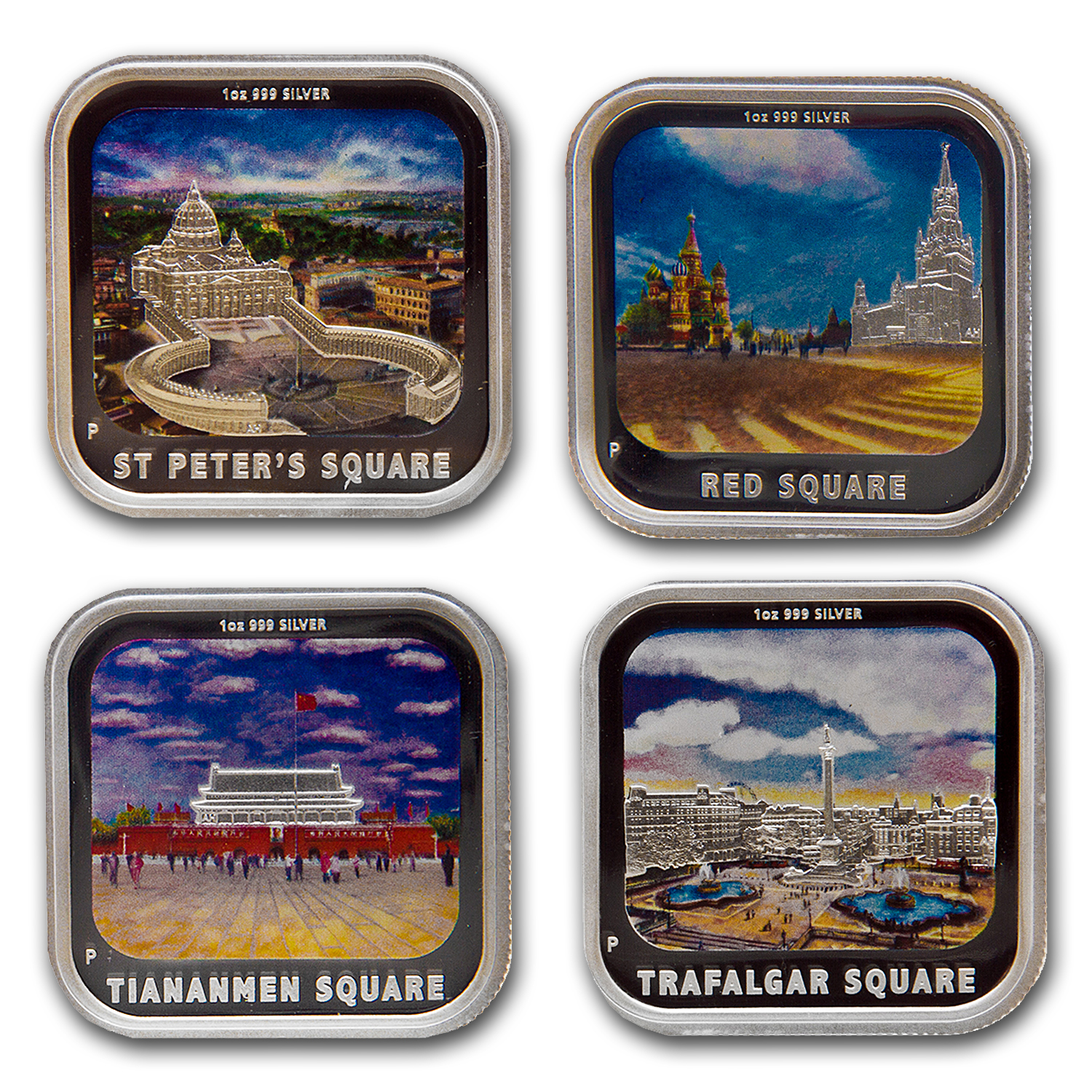 2013 World Famous Squares 1 oz Silver Proof Four-Coin Set