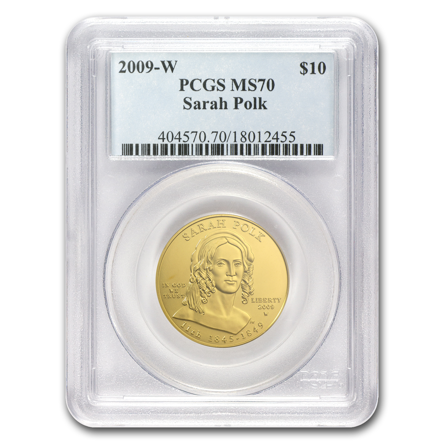 2009-W 1/2 oz Uncirculated Gold Sarah Polk MS-70 PCGS