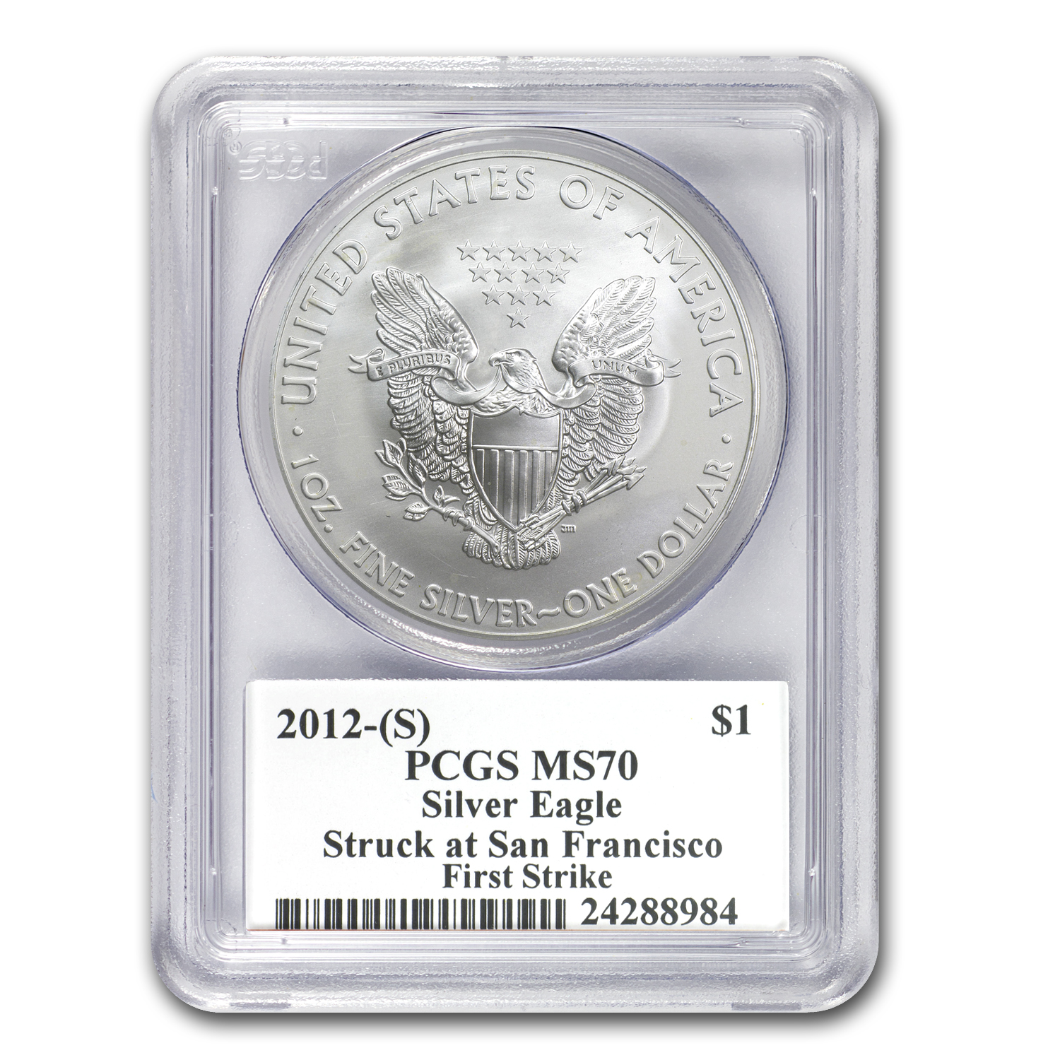 2012 (S) Silver Eagle - MS-70 PCGS - Golden Gate - FS - Mercanti