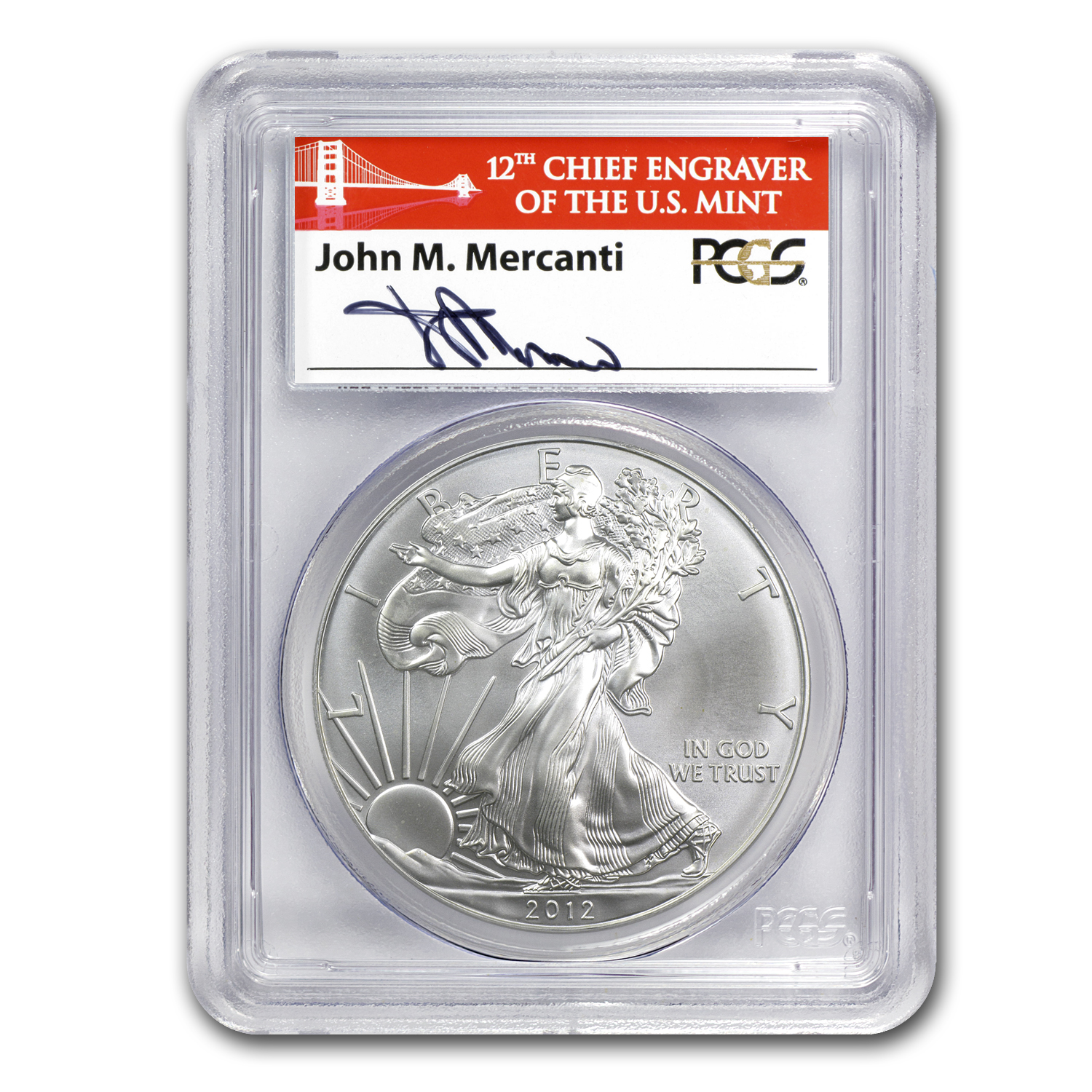 2012 S Silver Eagle Ms 70 Pcgs Fs Golden Gate