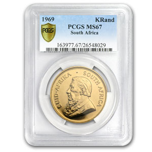 1969 1 oz Gold South African Krugerrand PCGS MS67 Registry Set