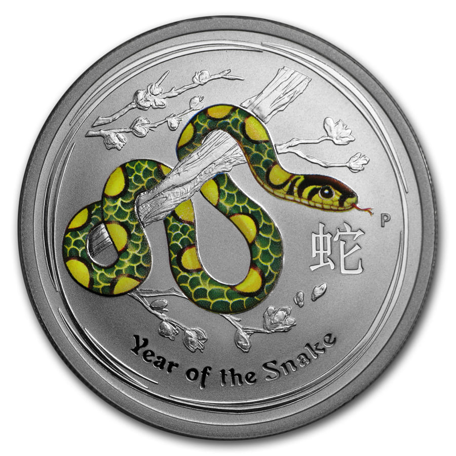 2013 1/2 oz Silver Australian Year of the Snake BU (Colorized)
