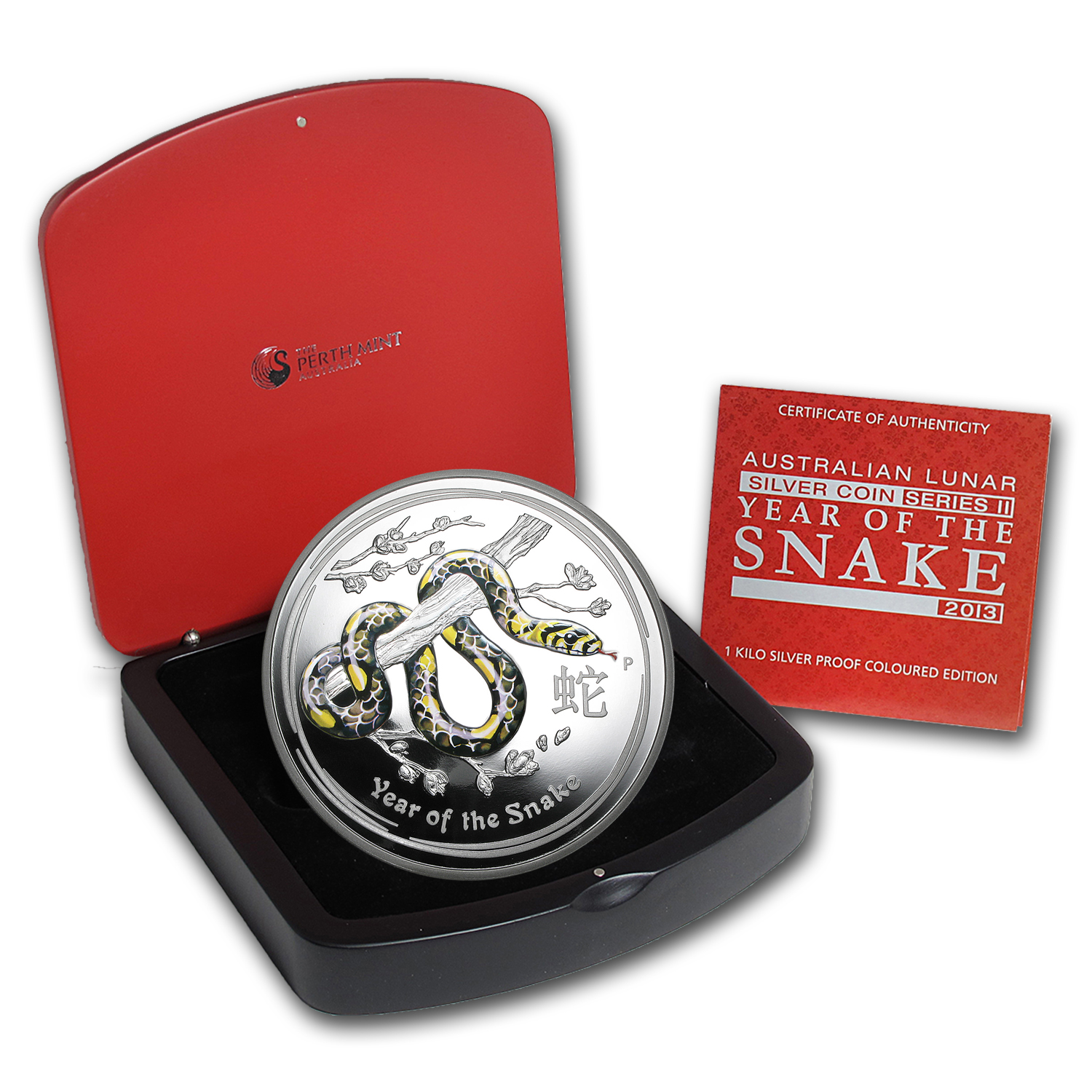 2013 1 Kilo Silver Australian Year of the Snake Colorized Coin