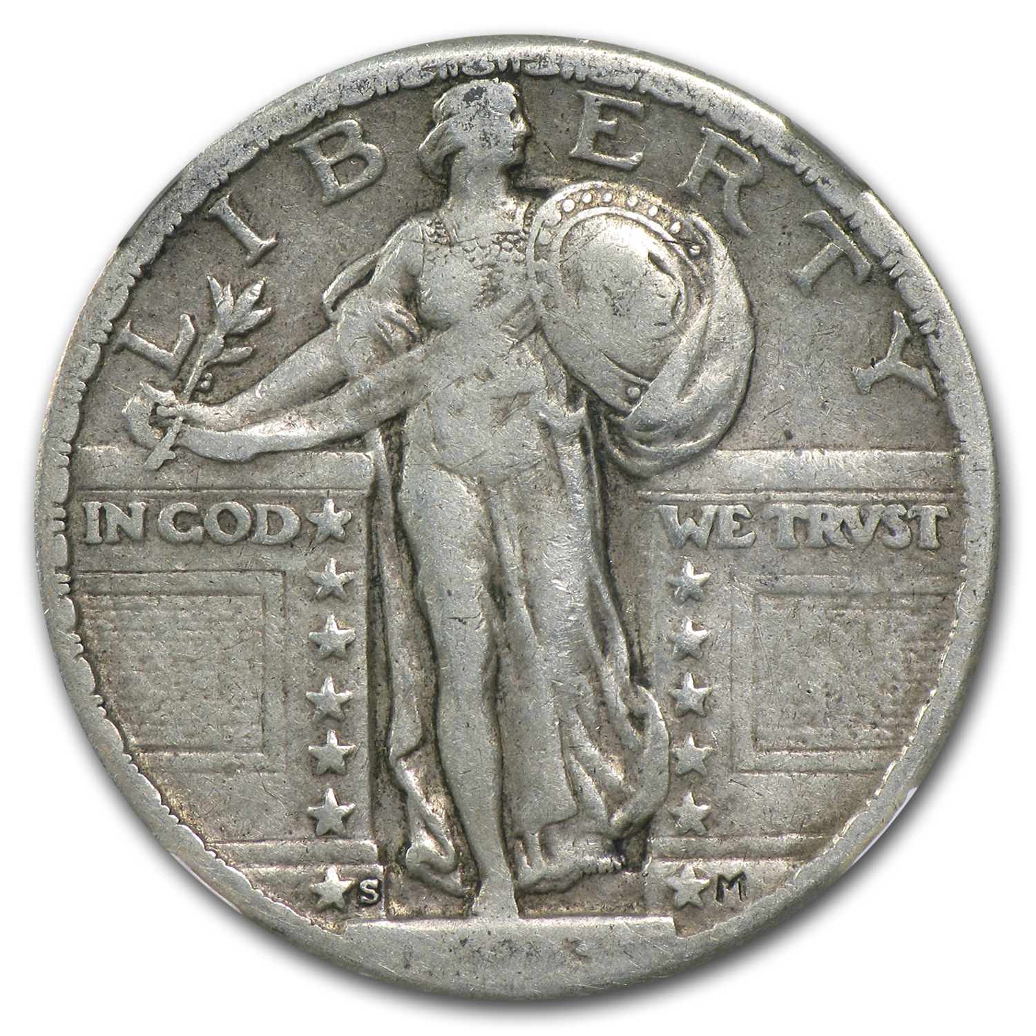 1923-S Standing Liberty Quarter Fine-15 NGC