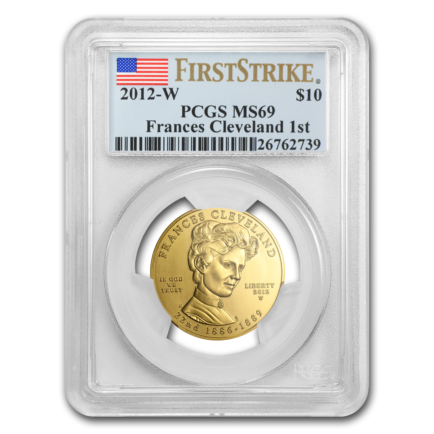 2012-W 1/2 oz Gold Frances Cleveland 1st Term MS-69 PCGS (FS)