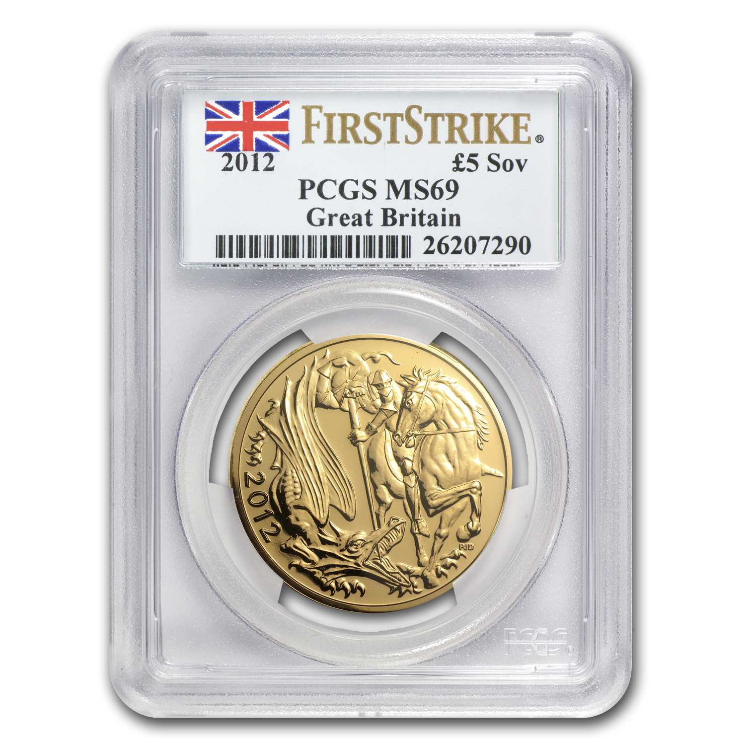 2012 Great Britain Gold £5 Sovereign MS-69 PCGS