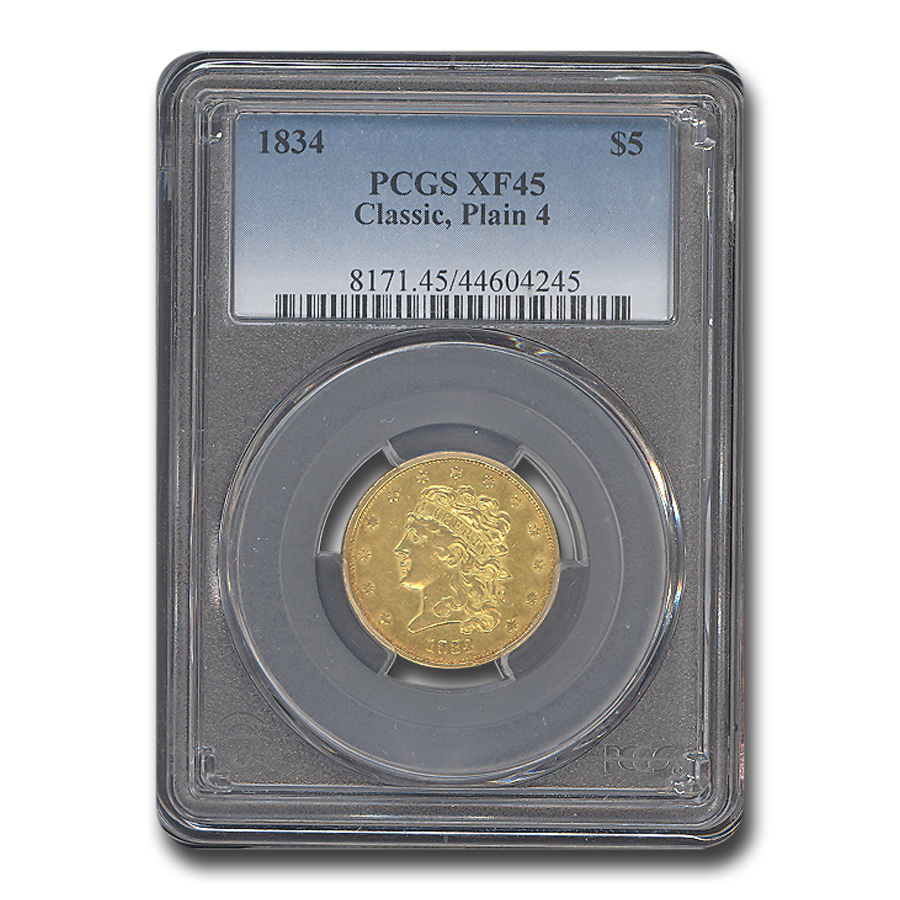 1834 $5 Gold Classic Head Half Eagle Plain 4 XF-45 PCGS