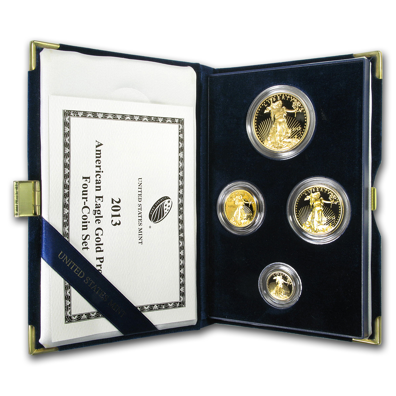 2013-W 4-Coin Proof Gold American Eagle Set (w/Box & CoA)
