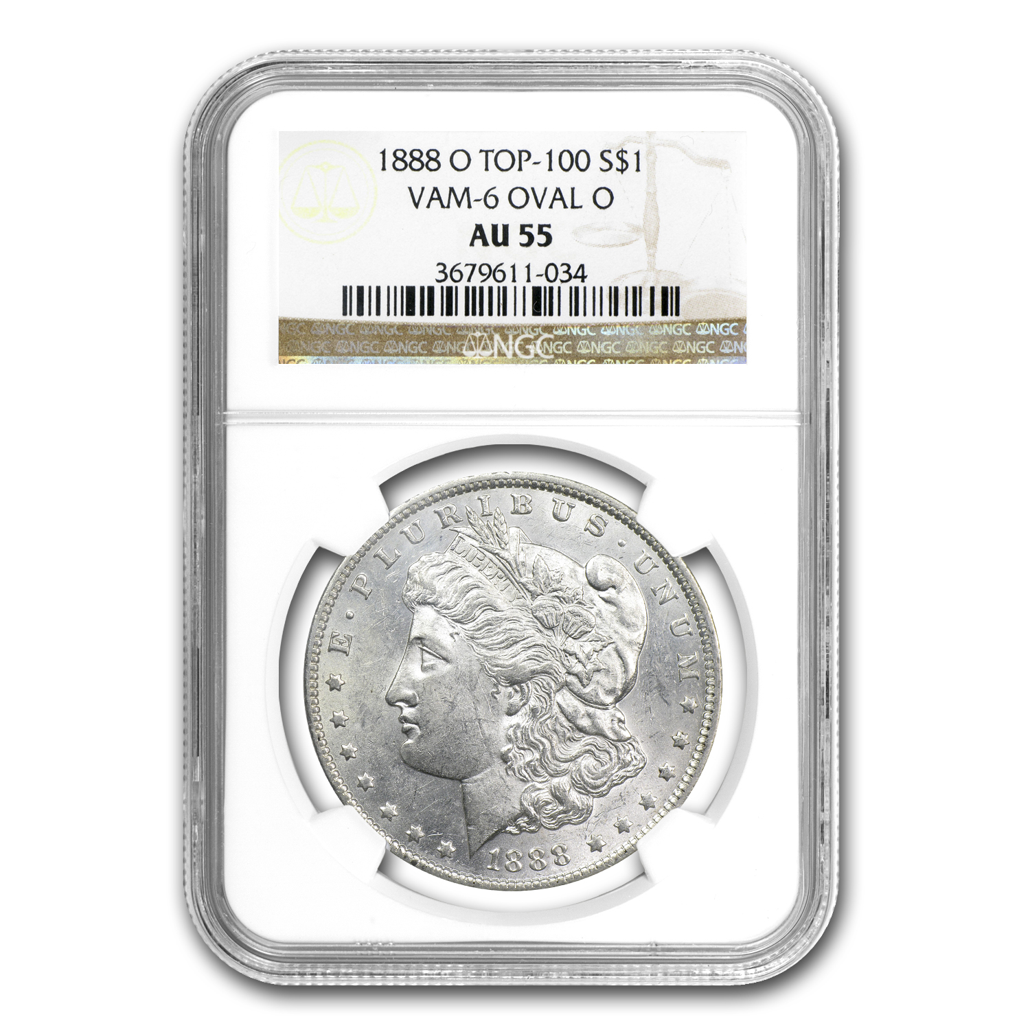 1888-O Morgan Dollar AU-55 NGC VAM-6 Oval O Top-100