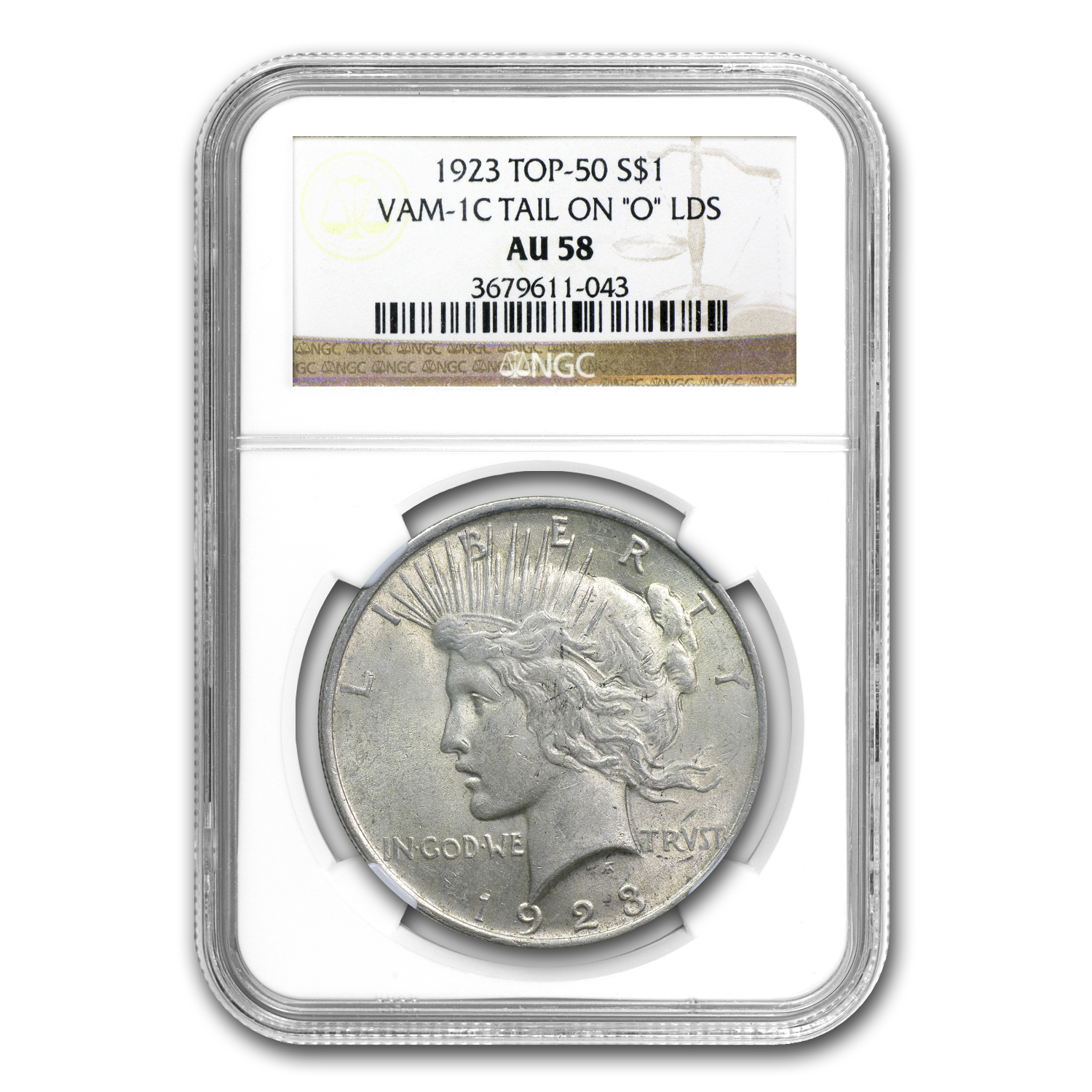 1923 Peace Dollar AU-58 NGC (VAM-1C Tail On O LDS, Top-50)
