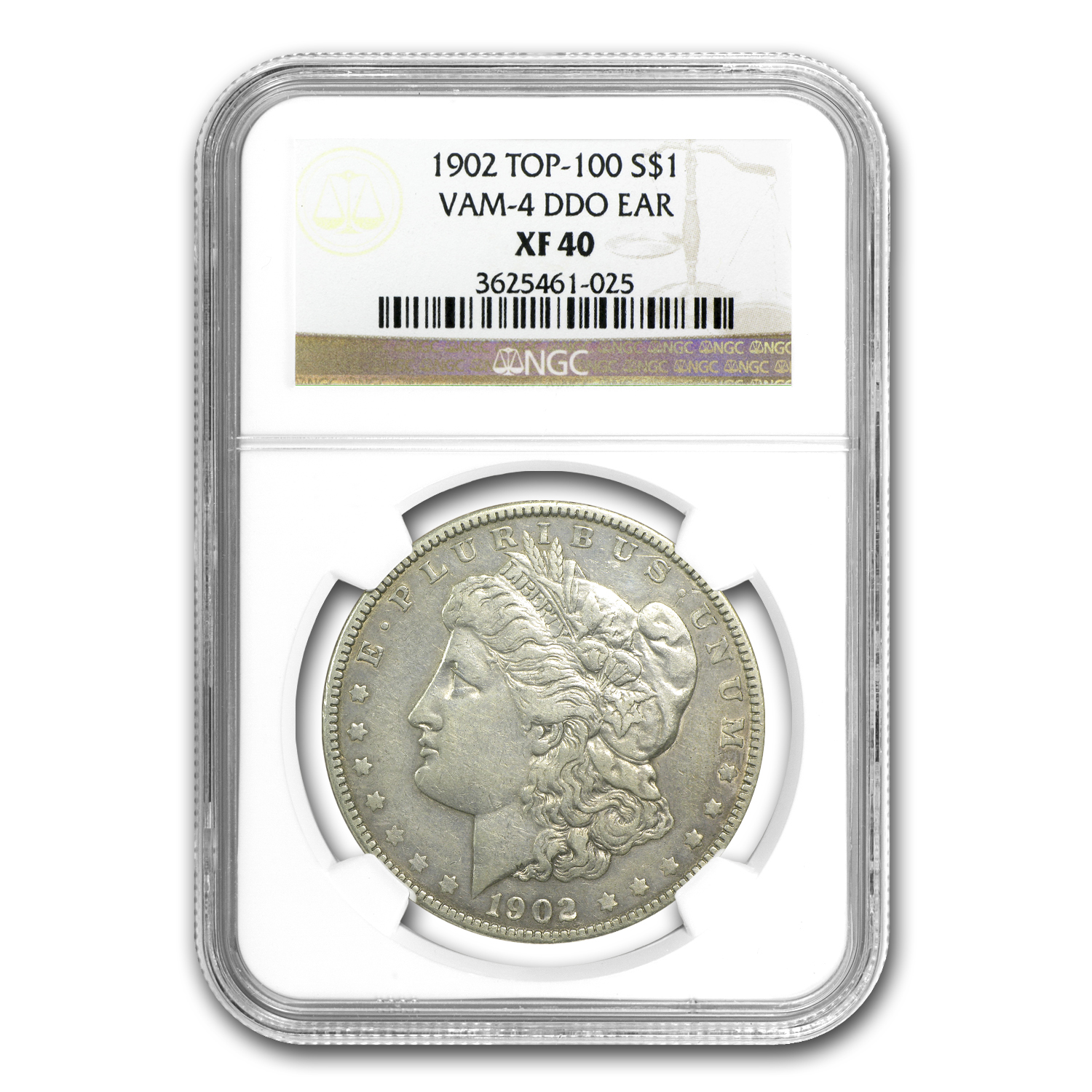 1902 Morgan Dollar Extra Fine-40 NGC VAM-4 Doubled Ear Top-100