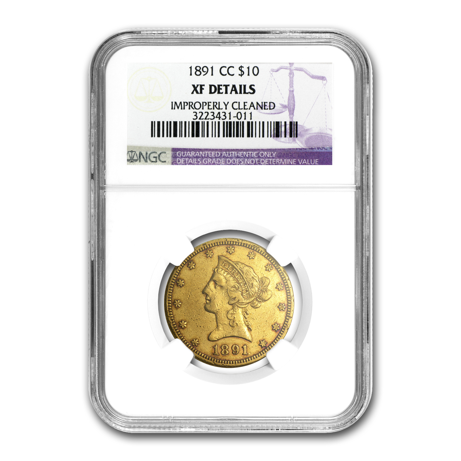 1891-CC/CC $10 Liberty Gold Eagle XF Details NGC (Cleaned)
