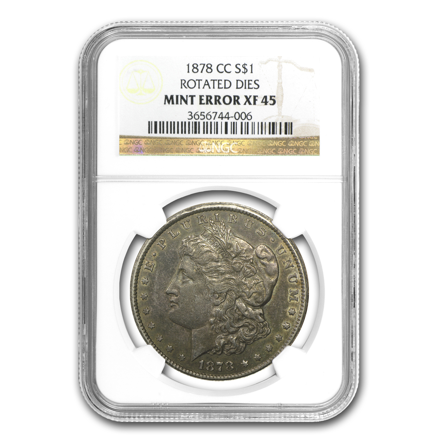 1878-CC XF-45 NGC 90 Degree CW Rotated Reverse Mint Error