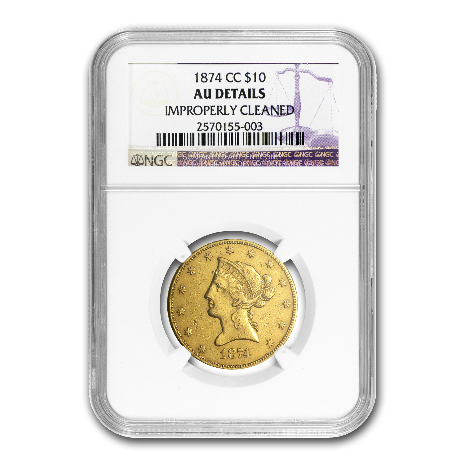 1874-CC $10 Liberty Gold Eagle AU Details NGC (Cleaned)