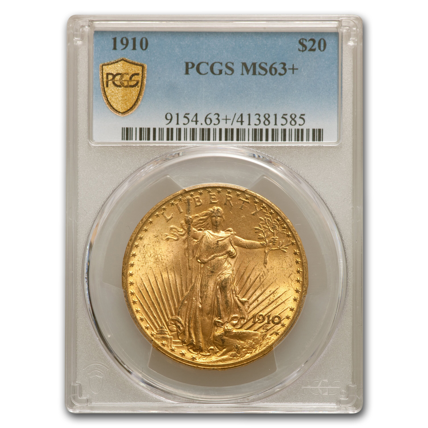 1910 $20 St. Gaudens Gold Double Eagle MS-63+ PCGS