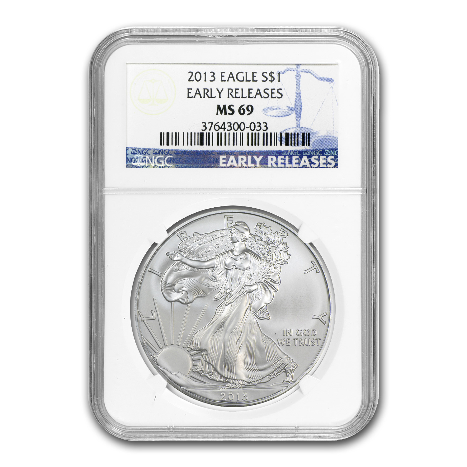 2013 Silver American Eagle - MS-69 NGC - Early Releases