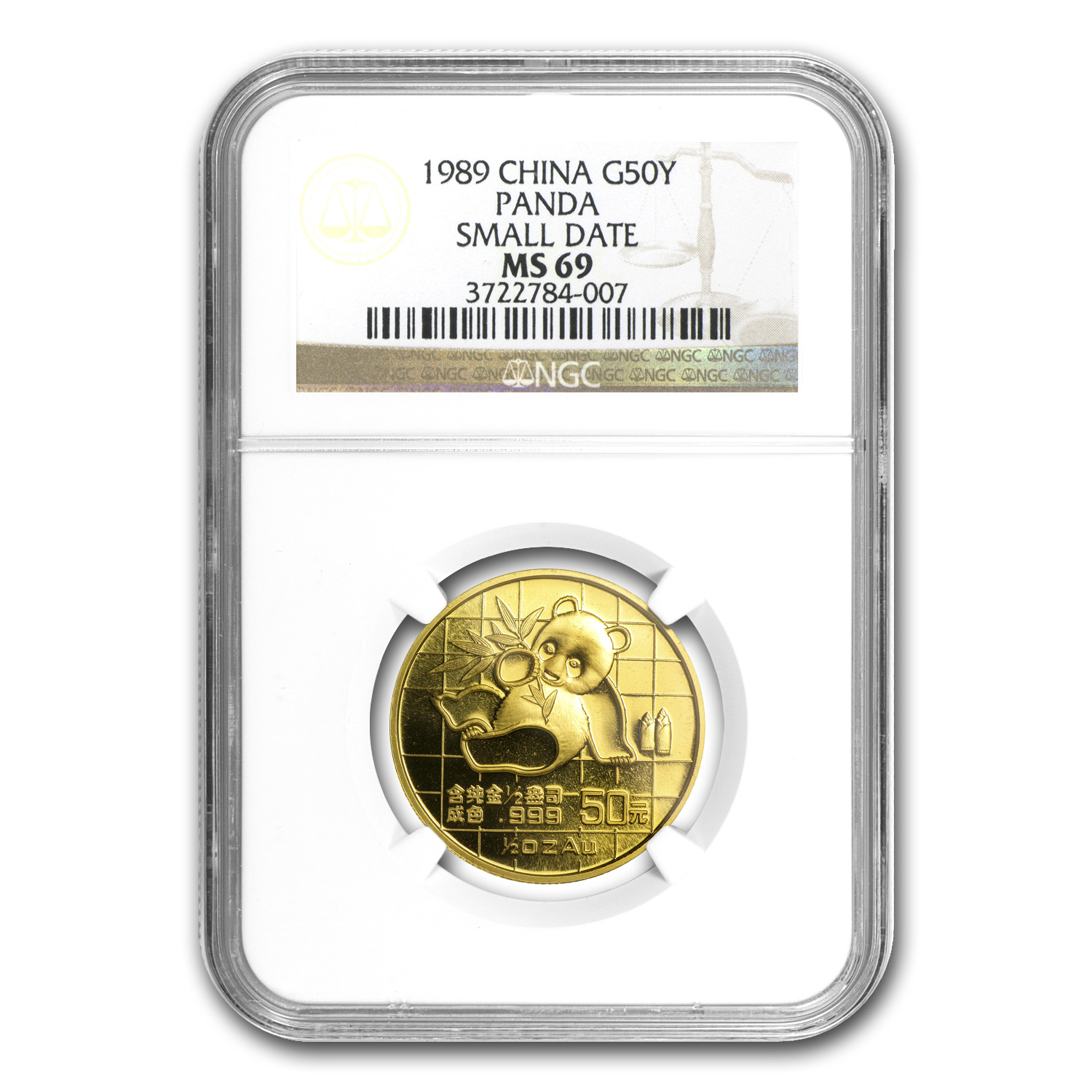 1989 1/2 oz Gold Chinese Panda Small Date MS-69 NGC
