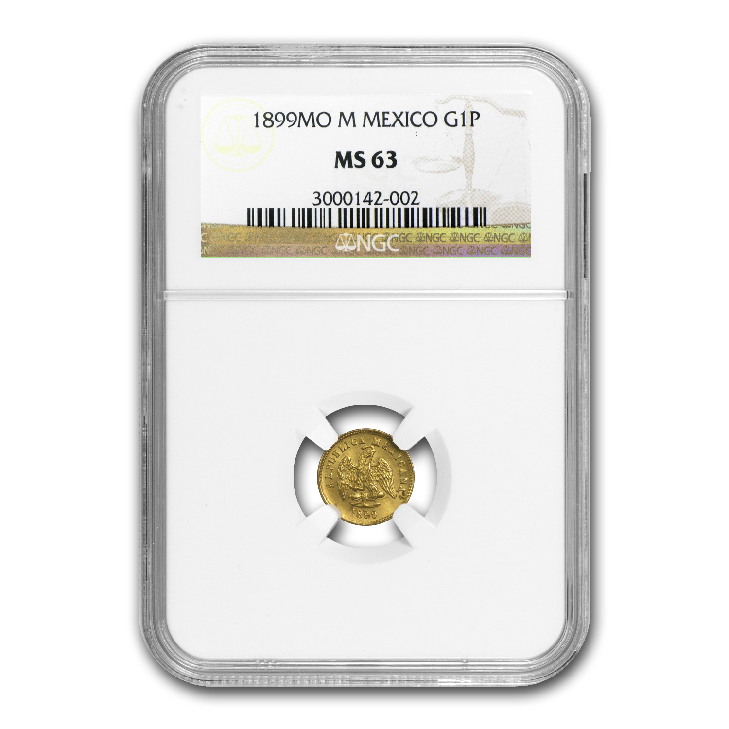 1899-Mo Mexico Gold Peso MS-63 NGC