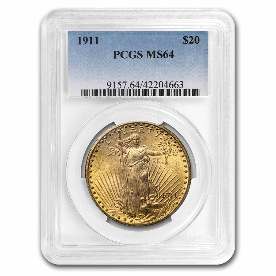 1911 $20 St. Gaudens Gold Double Eagle MS-64 PCGS