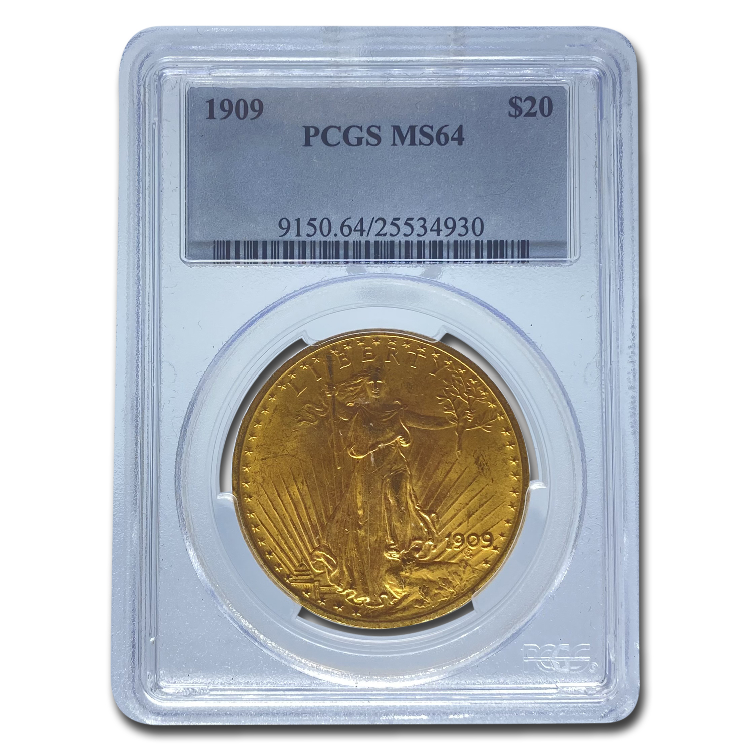 1909 $20 St. Gaudens Gold Double Eagle - MS-64 PCGS