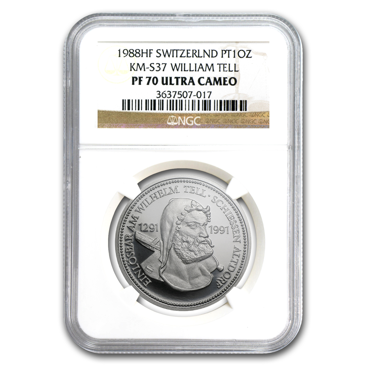 1988 Switzerland 1 oz Proof Platinum William Tell PF-70 NGC