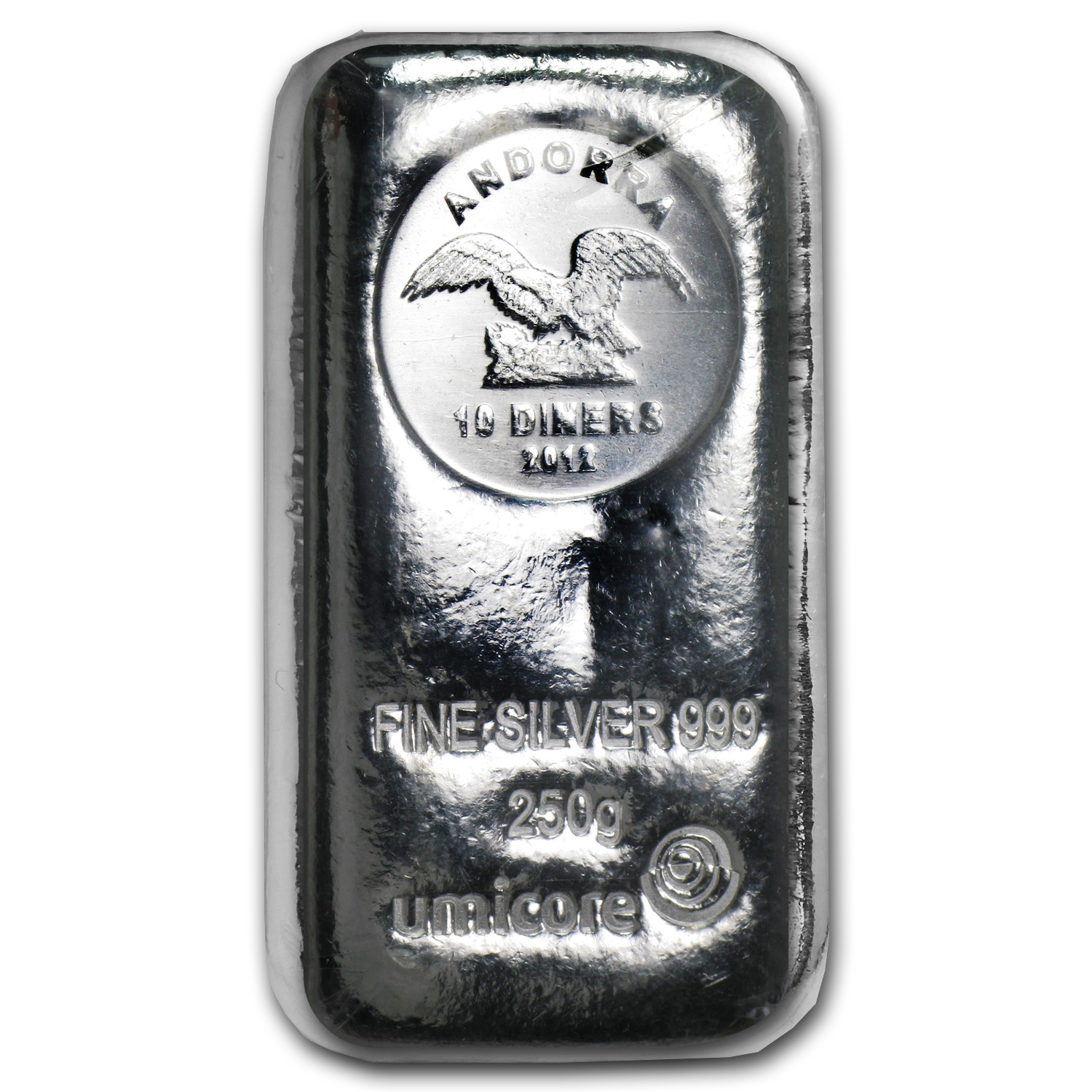 250 gram Silver Bar - Umicore Coin Bar (Poured)